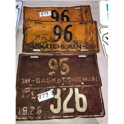 2 Matching 1936 Sask Plates 1 - 1938, 1 - 1926