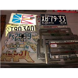 North West Territories, Patrick Dodge & Manitoba plates, numerous antique dealership plate frames