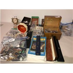 Several watches in bags, boxes, wood jewelry boxes, watch book, collector watches, pocket watches