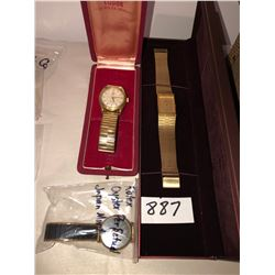 Rolex Tudor watch, Rolex oyster perpetual watch, Bulova watch in case w/diamonds