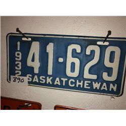 1932 Sask Plate