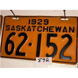 2 - 1929 Sask Plates