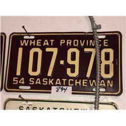 2 - 1954 Sask Plates