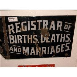 "Porcelain ""Registrar of Births & Deaths & Marriages"" plus Sask Plumber plate 1975"