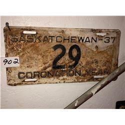 """1937 Sask Plates """"Coronation"""""""