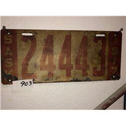 1917 Sask Plate