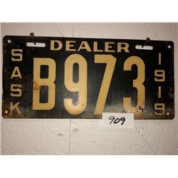 "Sask ""Dealer"" 1919 Dealer's Plate first used by Brad Smith of Saskatoon"