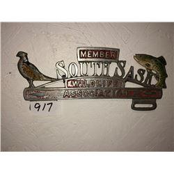 Sask wildlife plate holder, 2 - 1964 St. James Manitoba Bike licenses
