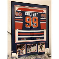 Very limited Wayne Gretzky framed sweater personally signed with upper deck cards personally signed