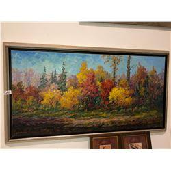 "Artwork George Buytendorp Autumn scene oil on canvas 24""x48"""