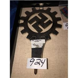 """Third Reich Flag Pole Topper 1936, approx 9""""x6"""", stainless"""