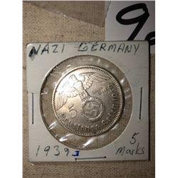 1939 Third Reich 5 mark coin, Third Reich Brass Eagle, Flag Topper