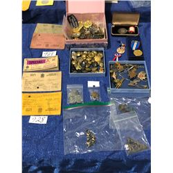 4 Boxes of military buttons, medals, RAF, RCAF and various pins, WW Ration books, Tokens, etc