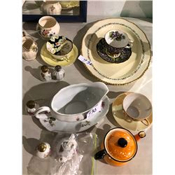 Ridgeway gold trimed serving platters, large gravy boat, salt & peppers, teapot