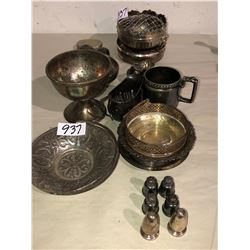 Several decorative silver pieces, candy dishes, ashtrays, incense burning, container all silver