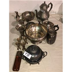 Several pieces of silverware, teapots, decorative pieces