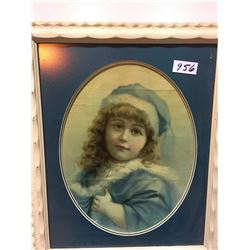 1800s Little girls portrait, old frame plus the great strawberry Queen by Toller Cranston