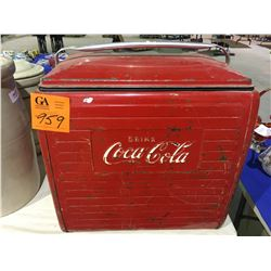 Old Coke metal picnic cooler