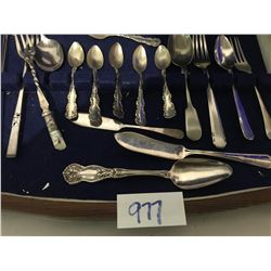 Assorted silverware, tea spoons, butter knives, small forks & spoons, many stamped sterling/925