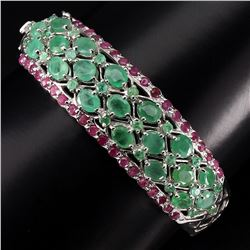 Natural Rich Green Emerald & Ruby 127.37 Ct Bangle