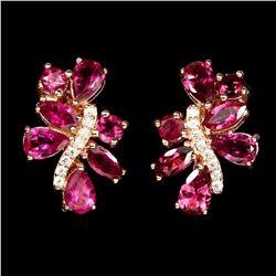 Stunning Top Rich Pink Tourmaline Earrings