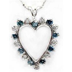 Blue & White Diamond 1.50 ct Soild Gold Heart Pendant