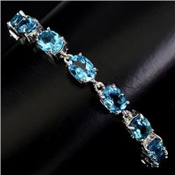 Natural 8x6 mm Top Swiss Blue Topaz Bracelet