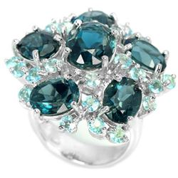 Natural Sky & London Blue Topaz 60 Carats Ring