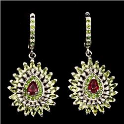 Natural Blood Red Ruby Chrome Diopside Peridot Earrings