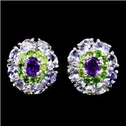 Natural Tanzanite Amethyst Chrome Diopside Earrings