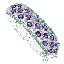 Natural Oval 5x4mm Purple Amethyst Green Emerald Bangle