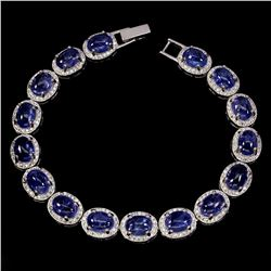 Natural Top Rich Blue Violet Tanzanite 110 Ct Bracelet