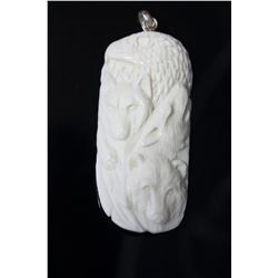 Hand Carved Eagle & Bear  Pendant