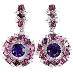 NATURAL AMETHYST, RHODOLITE GARNET Earrings