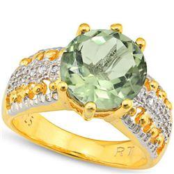 Natural Green Tea Amethyst & Diamond Ring