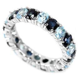 GENUINE BLUE SAPPHIRE & SKY BLUE TOPAZ Ring