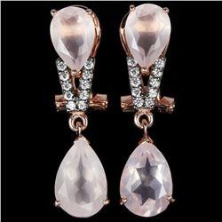 NATURAL 12X8 MM. & 10X7MM ROSE QUARTZ Earrings