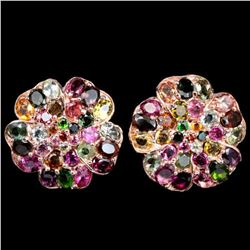 NATURAL MULTI COLOR TOURMALINE FLOWER EARRING