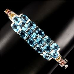 Natural Oval Cut Swiss Blue Topaz Sapphire Bangale