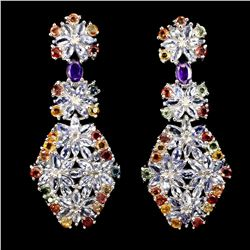 Gorgeous Marquise Tanzanite Sapphire Amethyst Earrings