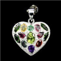 Natural  7x5mm Peridot Emerald Garnet Heart Pendant