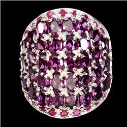 Natural Rhodolite Garnet & Ruby Ring