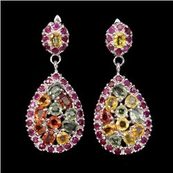 Natural Fancy Colors Sapphire Ruby Earrings
