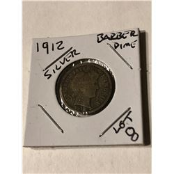 1912 Silver Barber Dime Nice Early US Coin
