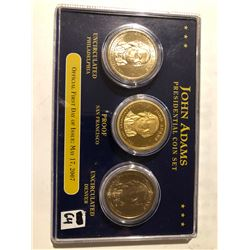 2007 John Adams presidential dollar 3 coin set