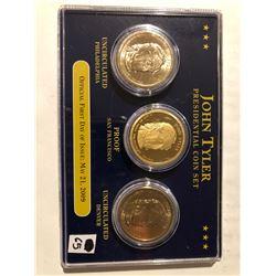 2009 John Tyler presidential dollar 3 coin set