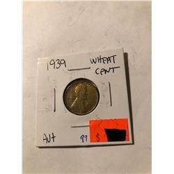 1939 Wheat Penny AU High Grade nice color