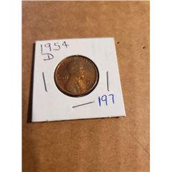 1954 D Wheat Penny Nice Shine
