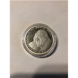 RARE 2015 African CONGO 1oz Silver Proof 5000 Francs GORILLA SILVERBACK