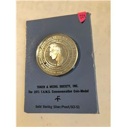 1971 Sterling silver Token and Medal Society Commemorative Medal